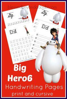 FREE BigHero6 homeschool handwriting pages. Print and cursive editions. Super CUTE!