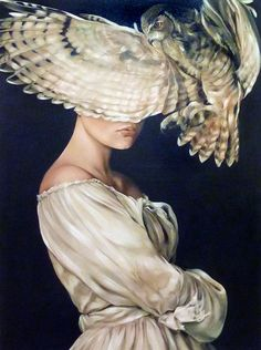"""""""Fascinating Athena"""" - Amy Judd {contemporary figurative surreal fantasy female woman bird wings painting #loveart}"""
