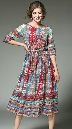Multicolor Print Chiffon Midi Dress