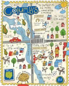 Brooke Albrecht version of map of Columbus от brookealbrechtstudio