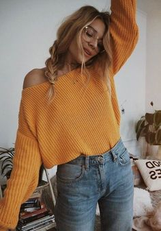 Casual Outfits 578431145868144416 - Yellow V-neck One-Shoulder Lantern Sleeve Casual Oversized Slouchy Pullover Sweater Source by Cute Fall Outfits, Fall Winter Outfits, Summer Outfits, Fall Outfits For School, Cute Outfit Ideas For School, Autumn Outfits For Teen Girls, Fall Outfit Ideas, Summer Skirts, October Outfits