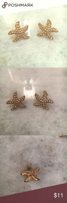 💕SALE💕 FORNASH Starfish earrings Gold tone FORNASH Starfish earrings with faux diamonds. SO cute for summer! Wear with everything! For pierced ears. Fornash Jewelry Earrings