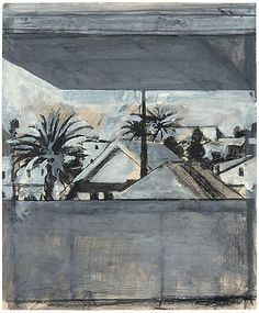"""Richard Diebenkorn's """"Untitled (View From Studio, Ocean Park)"""" (1969) is a gouache, charcoal, and ink on paper."""