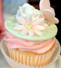 Lovely cupcakes at a pink & mint butterfly baby shower party! See more party ideas at CatchMyParty.com!