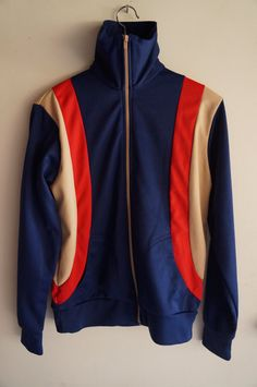 Vintage 70's Tracksuit Top -  Blue / Tan / Red - Medium - FREE SHIPPING (Item T19) Track Jacket Unisex 80s