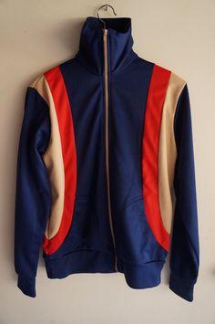 Vintage 70's Tracksuit Top Blue Tan Red Medium