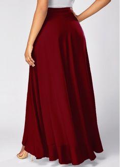 Wine Red Tie Waist Overlay Pants | Rosewe.com - USD $31.40