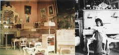 (Left) Color photograph of a room in the Alexandre Palace in Tsarskoe Selo taken in 1917 apparently after the family left for Tobolsk. Notice the lack of photographs (Right) which were stacked atop the piano years earlier as Anastasia sat knitting circa 1907.