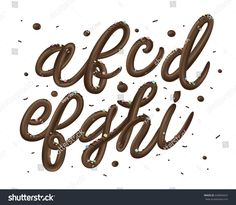 3D decorative font from dark chocolate with drops isolated on white background. Dessert cream letters. Realistic vector illustration.
