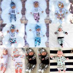 Kids clothes suits 3pcs Baby Boy Girl sets Newborn Infant Romper pants+Hat 3pcs Baby Outfits Clothing Sets