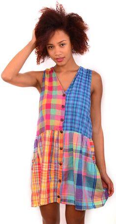 Vintage Dress - Mixed Check Babydoll Sz 12-14 $55