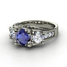 Lavish Ring,   Round Sapphire 14K  White Gold Ring  with Diamond