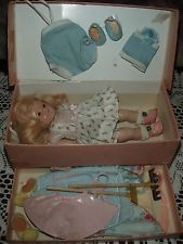 AMAZING Early Vogue TRANSITIONAL Ginny Doll FITTED FIBER CASE w Contents 1950s