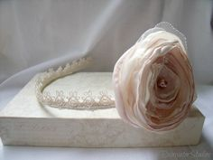 Wedding Hair Flower Headband  Stephanie   RainwaterStudios  $25.00