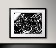 Harley Davidson art Harley Davidson engine Black by RegainStudio