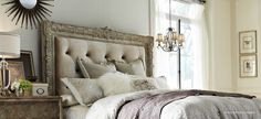 Upholstered headboard details: Accentrics Home by Pulaski Furniture Ardenay bedroom inspired french chateau style. | The Decorating Diva, LLC