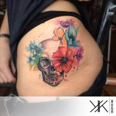 Amazing Watercolor Skull Tattoos by Koray Karagözler