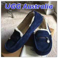 UGG Ansley Charm Moccasins Like New! Size 8US Womens Ansley UGG Moccasins with a dangling clear crystal zipper charm in gorgeous midnight blue suede. Comes in original box and wrapping. Bought last year at Nordstrom and wore very little. Paid $140. UGG Shoes Moccasins