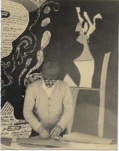 Saul Steinberg in his Studio
