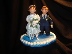 """Family Tree Cake Topper - I made this for a friend for a Family Tree theme cake.  She gave me a photo of her grandparents on their wedding day and that is what the figurines are based on.  They were married 42 years when the grandfather passed.  The figures are about 3 1/2"""" tall and were a challenge to make but I'm happy with the outcome.  Thanks for looking!"""