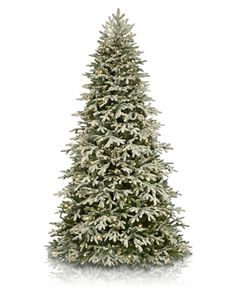 The Frosted Fraser Fir™ Narrow Christmas Tree echoes the quiet charm of powder fresh snow blanketing an evergreen forest.