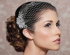Pretty Bandeau Birdcage Veil with Crystal fascinator comb - featured in Style Me Pretty! This gorgeous, sparkly jeweled bandeau birdcage veil is