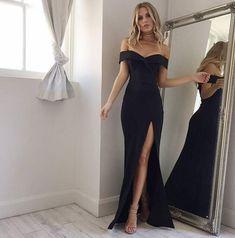 Elegant Black Off Shoulder Mermaid Prom Dress,Slit Side Evening Dress,Floor Length Prom Dresses,Long Evening Dresses by DRESS, $160.00 USD