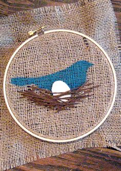 "Bird & Egg Embroidery Project -- perfect for little ones to complete (as the nest's ""sticks"" can be stitched any which way and still look great) after the bird has been stenciled onto the fabric."