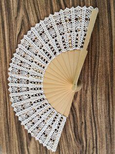Hand Held Fan, Hand Fan, Tapestry Crochet, Knit Crochet, Crochet Patterns, Paper Crafts, Knitting, Lace, Crocheting