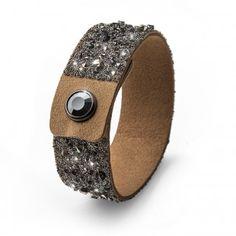 Oliver Weber Women beige large disco bracelet glitter alcantara with Swarovski Crystals Summer Collection, Swarovski Crystals, Take That, Glitter, Beige, Bracelets, Leather, Shoes, Women