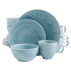The highly detailed Gibson Elite Alemany fine ceramic dinnerware set is sure to create an aura of elegance to the dining table. The Gibson Elite Alemany consists of 4 dinner plates, 4 salad plates, 4 bowls, and 4 mugs. Stoneware Dinnerware Sets, Tableware, Kitchenware, Blue Dinnerware, Gibson Dinnerware, Farmhouse Dinnerware Sets, Dinnerware Ideas, Vintage Dinnerware, Home Depot