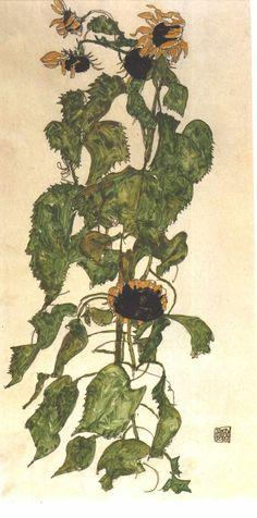 schiele sunflower - Google Search