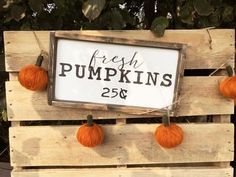 Fresh Pumpkins x Mini + Made from quality wood Fall Room Decor, Grey Home Decor, Room Decor Bedroom, Rustic Signs, Wooden Signs, Modern Farmhouse Decor, Farmhouse Style, Joanna Gaines Decor, Autumn Inspiration