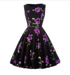 retro šaty Audrey štýl - veľké kvety fialové