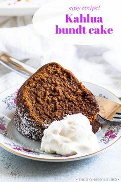 This easy Kahlua cake recipe is a decadent treat for any occasion. It starts with a cake mix so it's easy to make and is finished with a Kahlua glaze for an extra kick of flavor. Serve slices of this easy bundt cake with a dollop of whipped cream and watch your cake be devoured! It's a perfect treat for Christmas and the holiday season! Homemade Cake Recipes, Cupcake Recipes, Baking Recipes, Cupcake Cakes, Dessert Recipes, Bundt Cakes, Cupcakes, Tart Recipes, Kitchen Recipes