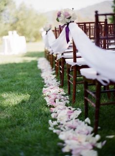 I like the tulle strung between seats for a defined aisle.