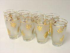 Vintage Libbey Rock Sharpe Golden Foliage Highball Glasses