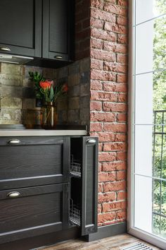 Modern Kitchen Interiors, Loft Interiors, Modern Kitchen Design, Brick Interior, Interior Design Living Room, Küchen Design, House Design, Black Kitchen Decor, A Frame House Plans