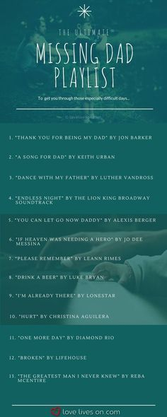 """100 Best """"Missing You"""" Songs Missing Dad Playlist. Missing My Dad Quotes, Missing Dad In Heaven, Missing You Songs, Dad In Heaven Quotes, Miss You Dad Quotes, Remembering Dad Quotes, Losing Someone Quotes, Fathers Day In Heaven, Lost Quotes"""