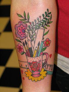 Gettin' Crafty with Ink – 25 Amazing Craft-Inspired Tattoos – Bella Stitchery Pretty Tattoos, Beautiful Tattoos, Strick Tattoo, Teacher Tattoos, Teachers With Tattoos, Buick, Knitting Tattoo, Sewing Tattoos, Arrow Tattoo