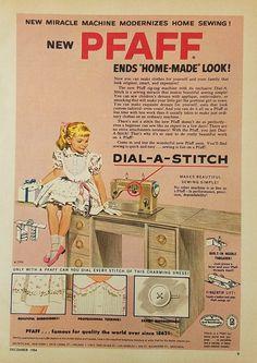 1954 Pfaff Sewing Machine Dial A Stitch Vintage Ad - Girl Dress Sitting