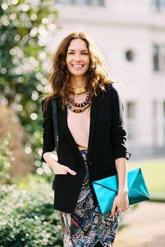Boho Chic Street style Tips; celebrity Eugenia Silva,before Christopher Kane, London fashion week