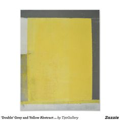 'Double' Grey and Yellow Abstract Art Poster