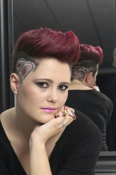 Pink hair tattoo and heart - New Hair Design Undercut Hairstyles, Trendy Hairstyles, Extreme Hair, Hot Hair Styles, Hair Tattoos, Shaved Hair, Hair Art, Hair Designs, Cut And Color
