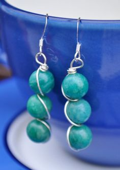 Amazonite Wire Wrapped Earring. £12.00, via Etsy.