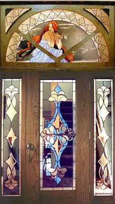 Art Nouveau Lady transom, sidelights & door. Dimensions in Art Glass - Architectural Glass - Entryways