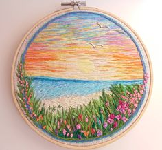 Landscaping Tattoo Nature - Japanese Landscaping Painting - - - Pool Landscaping On A Hill - Landscaping Lighting Sidewalk Embroidery On Clothes, Flower Embroidery Designs, Hand Embroidery Stitches, Embroidery Hoop Art, Embroidery Techniques, Cross Stitch Embroidery, Embroidery Ideas, Beginner Embroidery, Geometric Embroidery