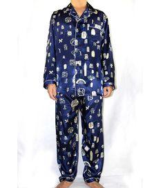 080ab4741b Navy Blue Chinese Men Silk Pajamas Suit Autumn New 2PCS Nightwear Pyjama  Set Sleepwear Bath Robe