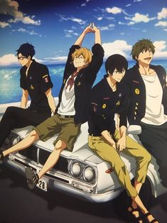 Rei, Nagisa, Haru e Makoto Free Eternal Summer, Free Summer, Fanart Manga, Splash Free, Free Iwatobi Swim Club, Kyoto Animation, Free Anime, Kawaii Anime, Anime Art