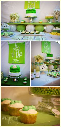 Pea in a Pod Baby Shower idea. This one could work great too for twins, triplets